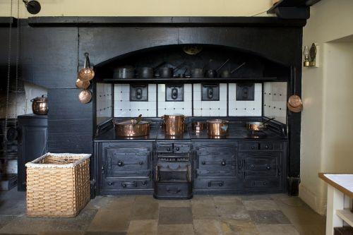 victorian cooking range copper utensils whicker basket