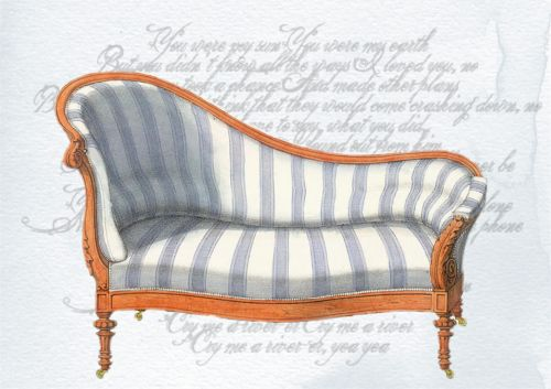 Victorian Couch Art Collage Blue