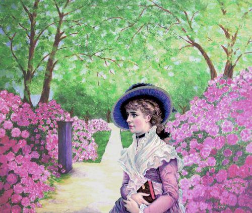 Victorian Woman Flower Garden