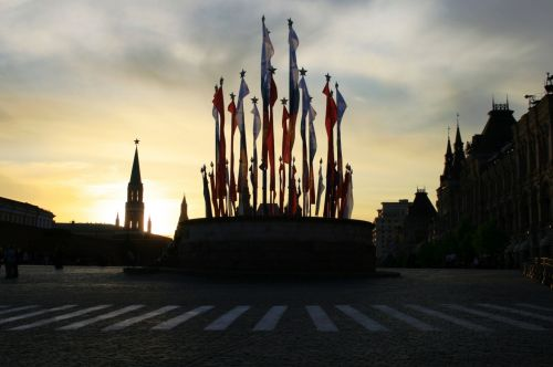 Victory Day Flags, Sunset, Moscow