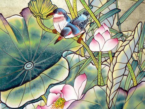 viet nam silk painting decor