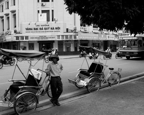 vietnam hanoi black and white