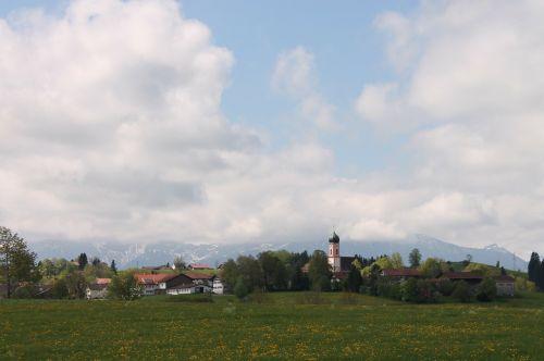 village alpine alpine panorama in the spring
