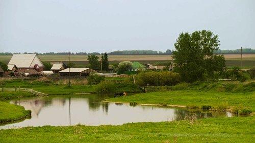 village  landscape  siberia