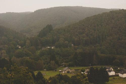 village mountains landscape