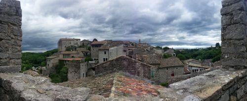 village medieval village tiled roofs