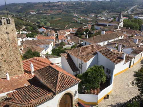village of obidos portugal obidos seen from the castle obidos portugal