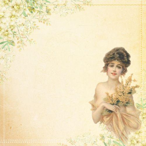 vintage lady flower