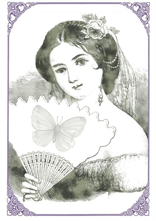 vintage lady drawing