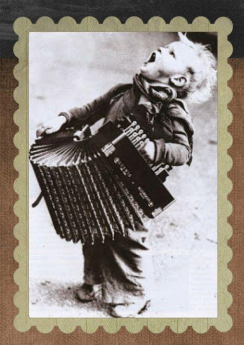 vintage boy accordion