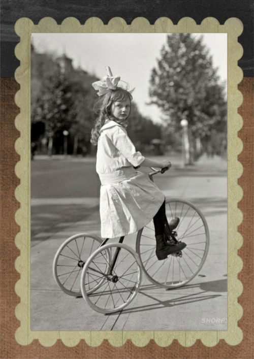 vintage girl tricycle