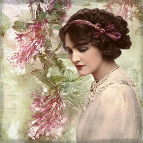 vintage lady digital art