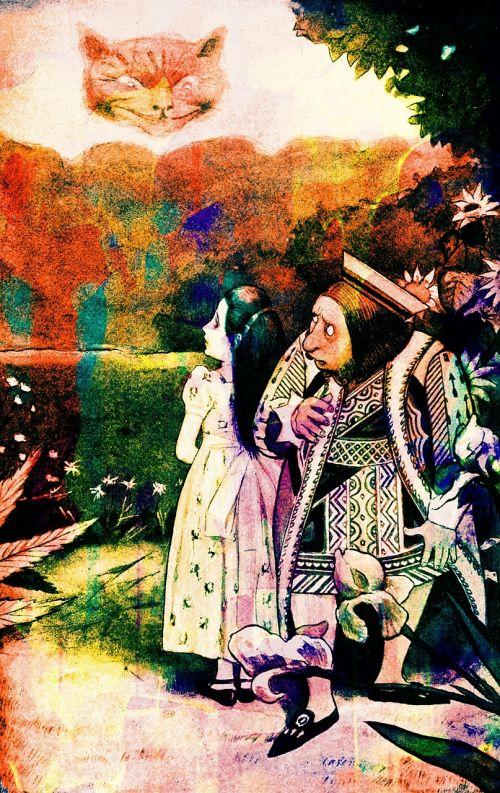 vintage book illustration alice in wonderland