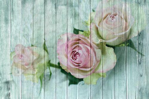 vintage wood rose