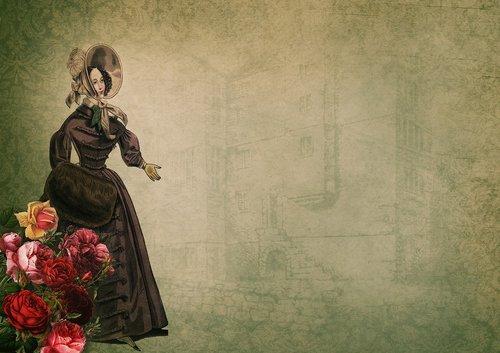 vintage  flowers  lady
