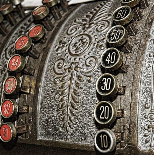 vintage numbers cash register
