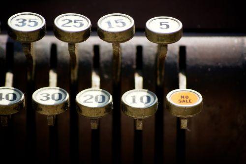 vintage cash register no sale