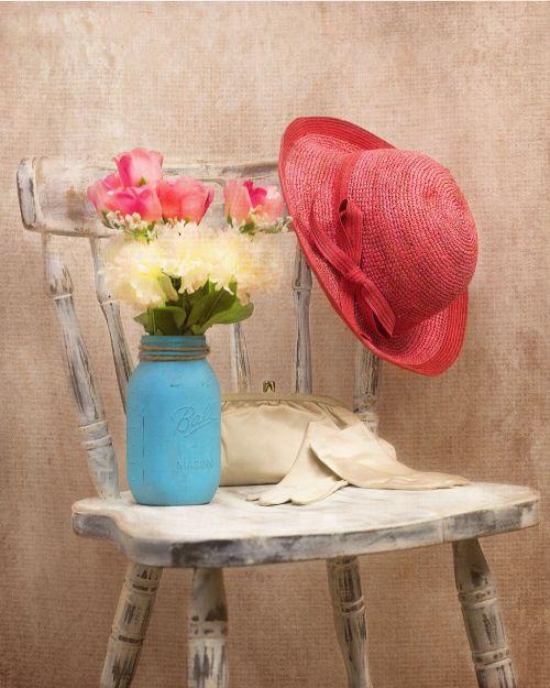 vintage hat flowers