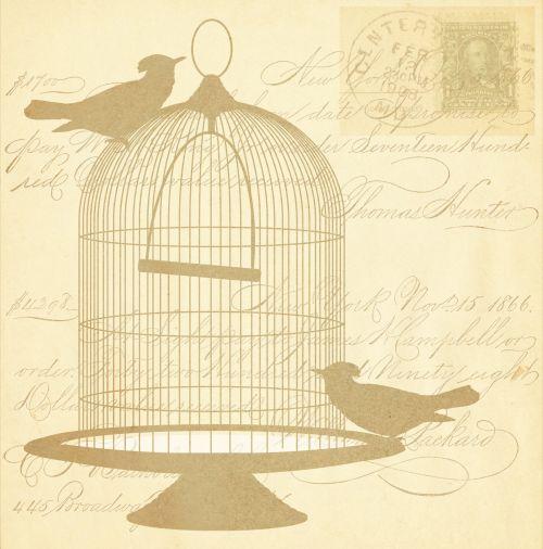 Vintage Birds Gold Script