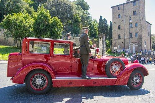 vintage car  firemen  red