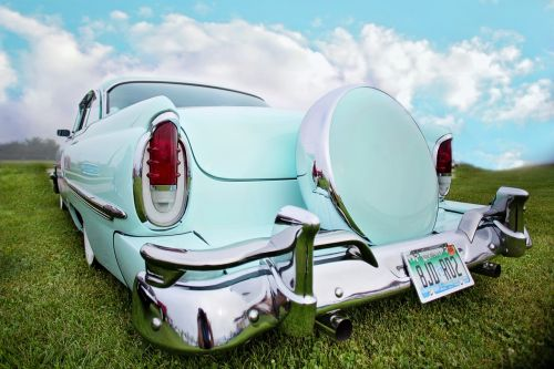vintage car turquoise old