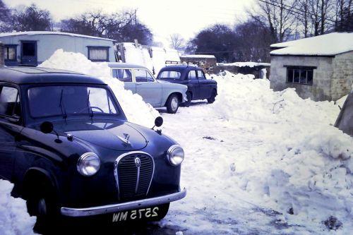 Vintage Cars Stuck In Snow