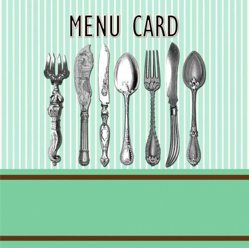 Vintage Cutlery Menu Card