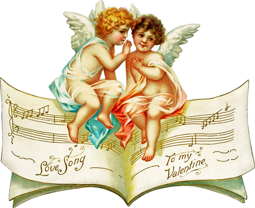 vintage ephemera  angels  music sheet