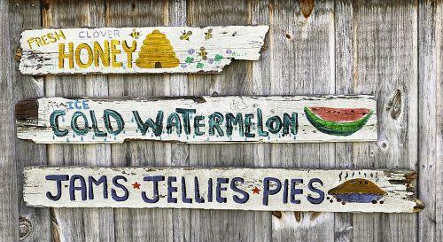 vintage farmer's market sign jelly cherry pie