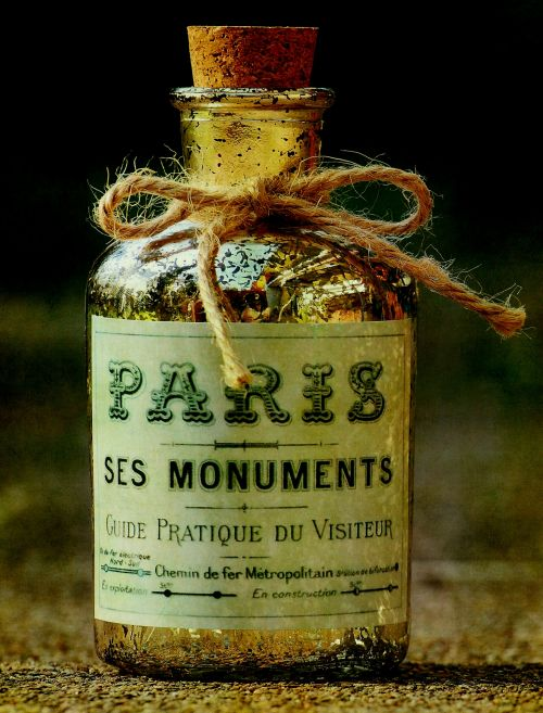 Vintage French Bottle With Label