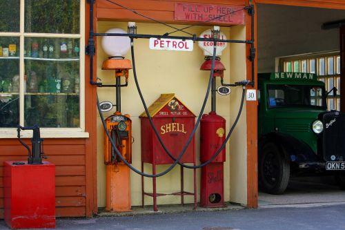 vintage gas station petrol station fuel