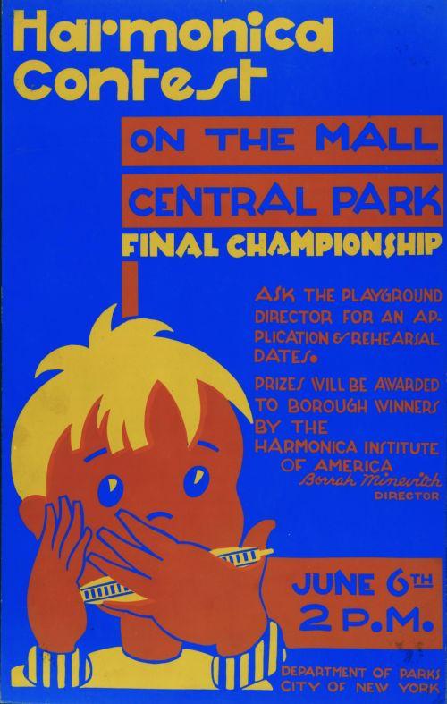 Vintage Harmonica Contest Poster