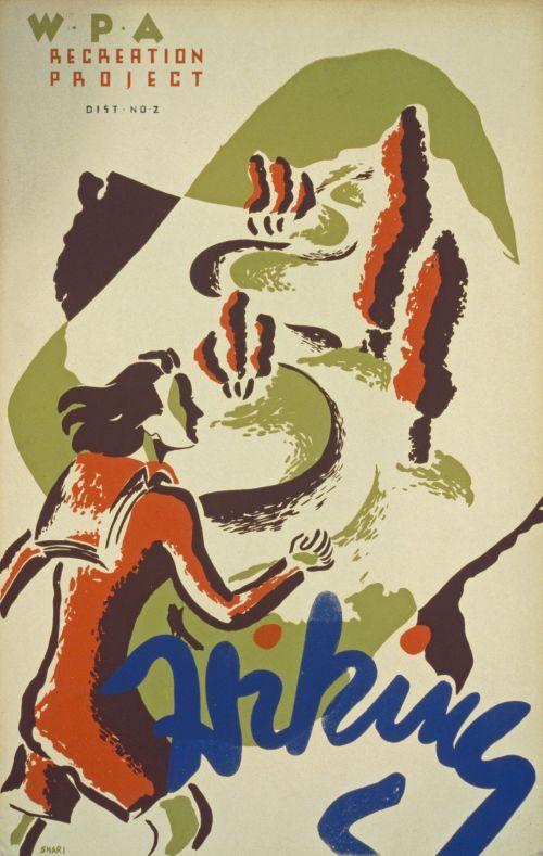 Vintage Hiking Poster