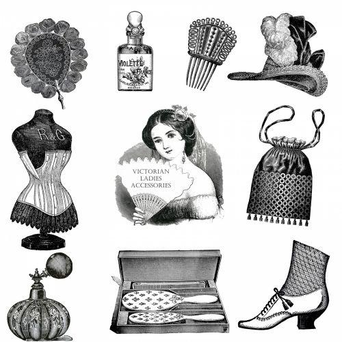 Vintage Ladies Accessories Clipart