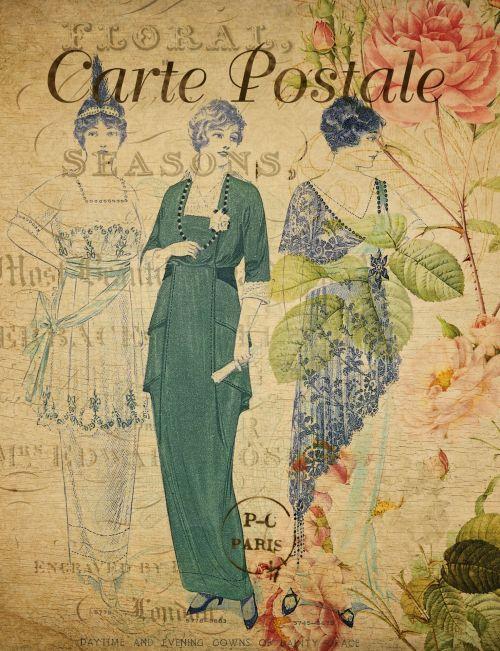 Vintage Ladies Floral Background