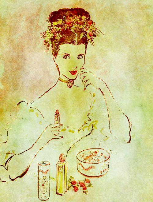 Vintage Lady Applying Lipstick