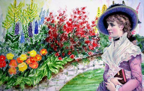 Vintage Lady Flower Garden