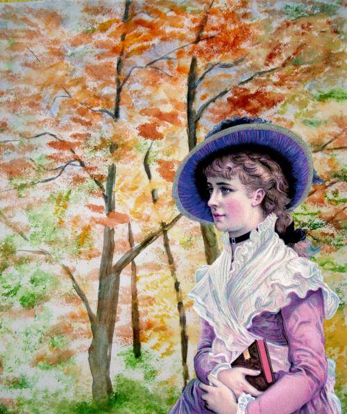 Vintage Lady Woodland Background