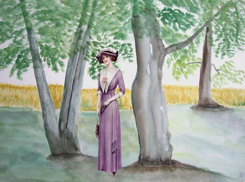 Vintage Lady Woodland Walk
