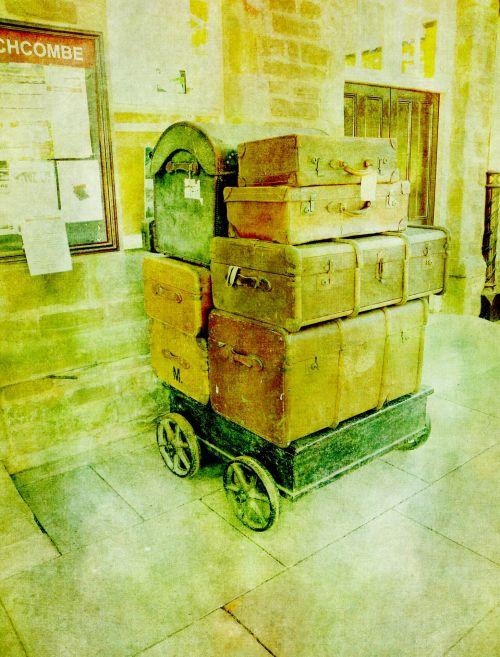 Vintage Luggage At Station