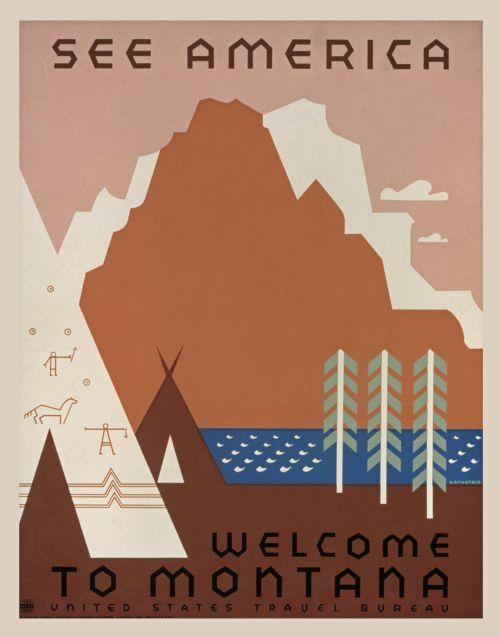 Vintage Montana Travel Poster