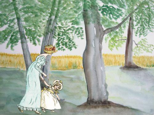 Vintage Mother, Daughter Woodland