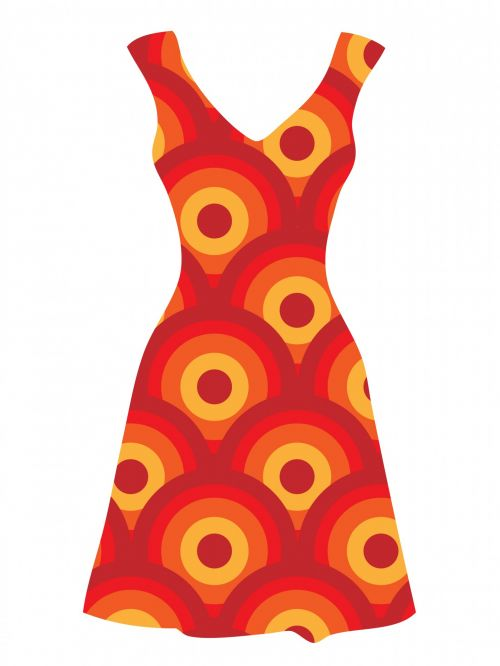 Vintage Orange Dress Clipart
