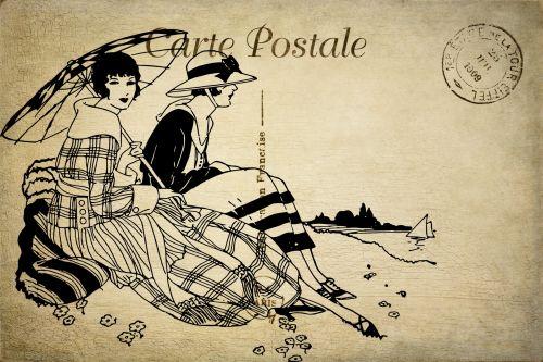 atvirukas, vintage, Prancūzų kalba, Lady, moterys, moteris, moterys, Moteris, moterys, papludimys, pajūryje, sėdi, kontūrai, menas, iliustracija, piešimas, rašiklis, rašalas, juoda, Scrapbooking, Laisvas, viešasis & nbsp, domenas, senoviniai pašto siuntiniai pajūryje