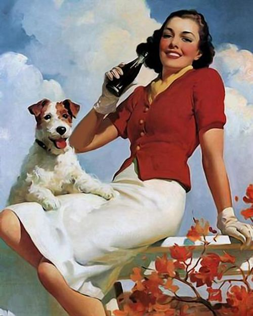 vintage poster soda woman and dog