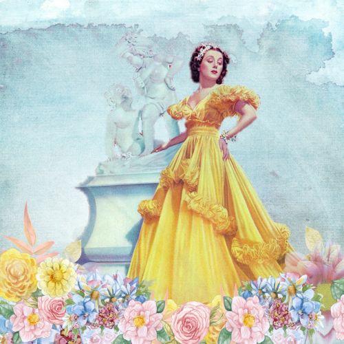 Vintage Romantic Lady Art Collage