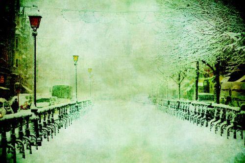 vintage, sniegas, gatvė, dažymas, scena, gatvė & nbsp, scena, blizzard, žiema, atmosfera, šaltas, menas, Laisvas, viešasis & nbsp, domenas, derliaus sniego scenos tapyba
