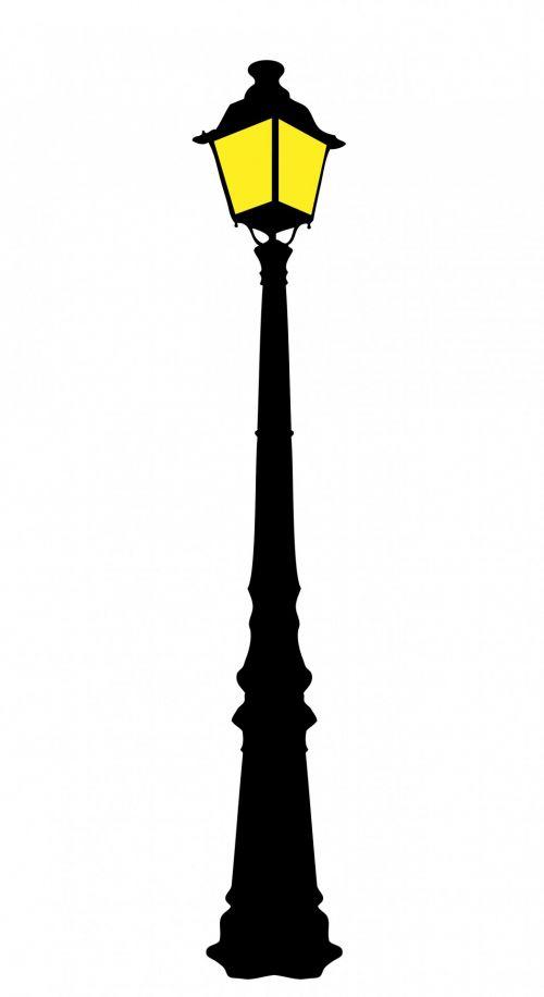 gatvė & nbsp, šviesa, gatvė & nbsp, apšvietimas, gatvė & nbsp, lempa, apšviestas, vintage, senas, apdorotas geležis, juoda, siluetas, geltona, balta, fonas, Iliustracijos, Scrapbooking, menas, iliustracija, senovinių gatvių lempos klipas