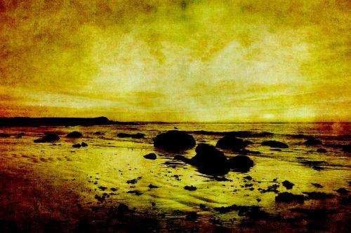 Vintage Sunset Painting Seascape