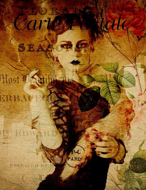 Vintage Woman 1920s Postcard